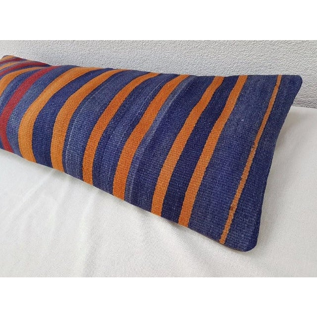 Islamic Orange and Blue Wool Kilim Pillow Cover For Sale - Image 3 of 6