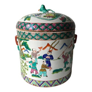"Antique Chinese 9"" Famille Vert Storage Jar-Signed"
