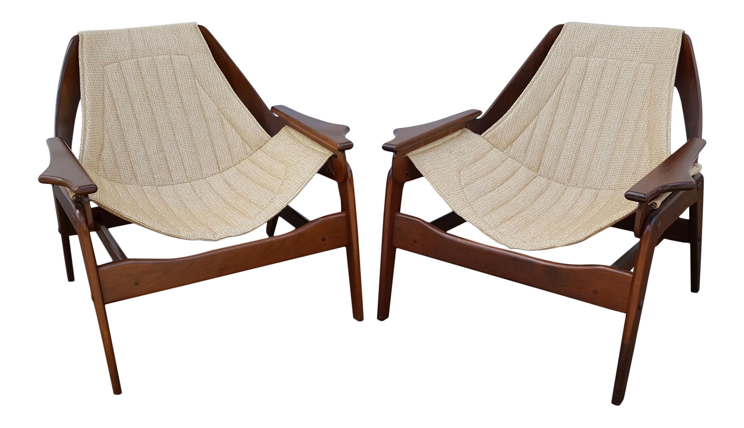 Vintage Mid Century Jerry Johnson Walnut Sling Lounge Chairs A Pair