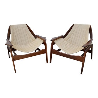 Vintage Mid Century Jerry Johnson Walnut Sling Lounge Chairs- A Pair For Sale
