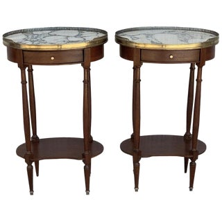 19th Century Bouillotte Louis XVI Style, Kidney Shaped Side Tables or Nightstand For Sale