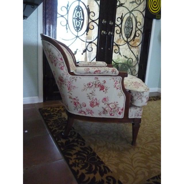 "Hollywood Regency 5th Avenue Designs ""Covington"" Walnut Boudoir Chair For Sale - Image 4 of 6"