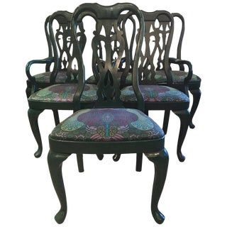 Lacquered and Upholstered Dining Chairs - Set of 6 For Sale