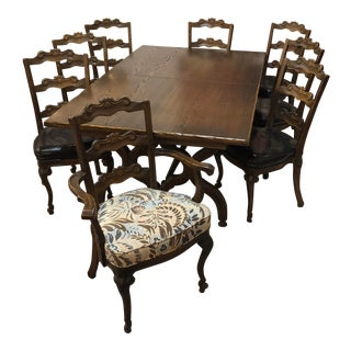 Dark Walnut Sturdy Dining Set For Sale