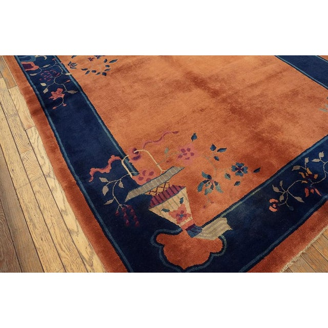 "Chinese Art Deco Orange and Blue Rug - 5'x7'10"" For Sale - Image 4 of 6"