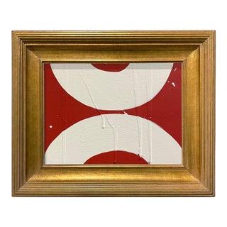 Ron Giusti Mini Wagasa Red Cream Acrylic Painting, Framed For Sale