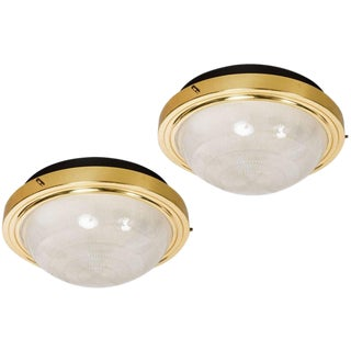 1960s Sergio Mazza Brass & Glass Wall or Ceiling Lights for Artemide - A Pair For Sale