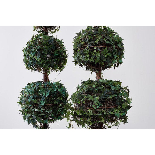 Green Pair of Neoclassical Faux Ivy Topiary Trees For Sale - Image 8 of 13