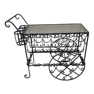 Verdigris Wrought Iron Scroll Tea Liquor Cart For Sale