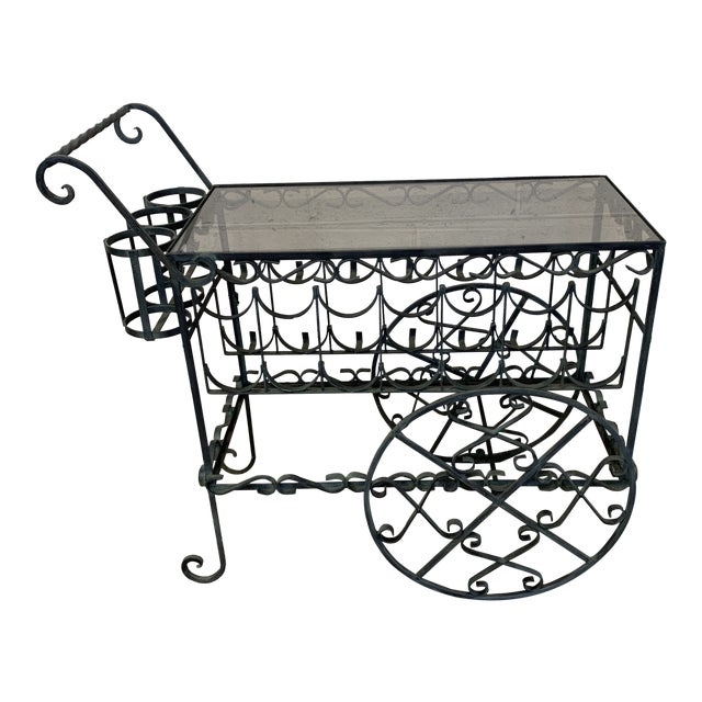 Verdigris Wrought Iron Scroll Tea Liquor Cart For Sale