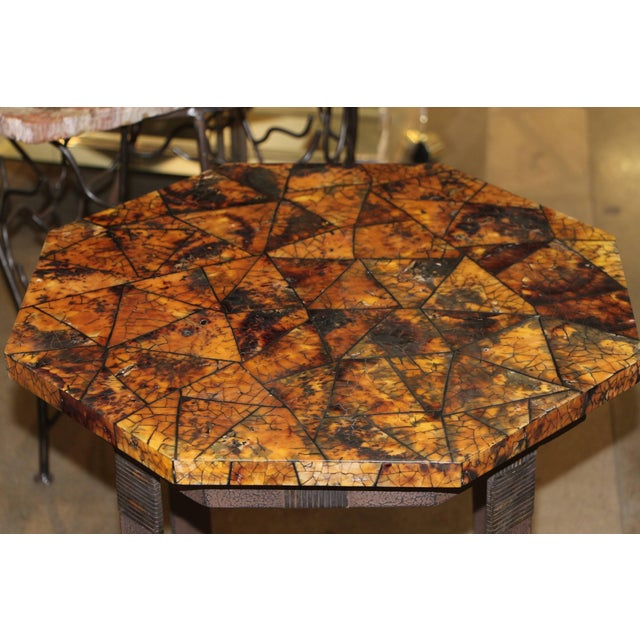 Mediterranean Kreiss Collection Coconut Shell Octagon Top Table For Sale - Image 3 of 9