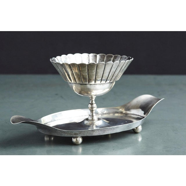 Mid-Century Modern French Sterling Serving Tray With Flower Form Footed Center Bowl, Circa 1960s For Sale - Image 3 of 12