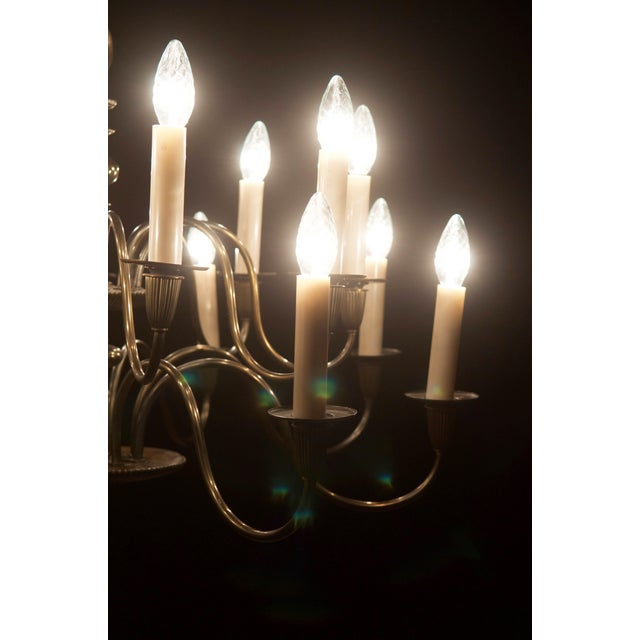Vintage Large Brass Sixteen-Arms Chandelier For Sale - Image 4 of 11