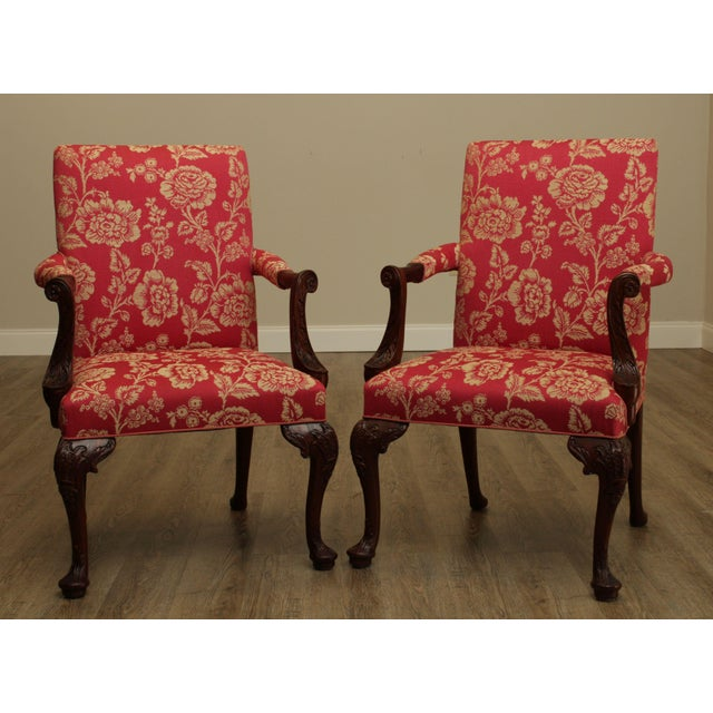 Traditional Georgian Style Custom Quality Carved Mahogany & Upholstered Set 10 Dining Chairs For Sale - Image 3 of 13