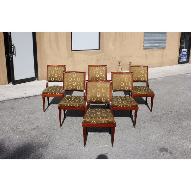 Country 1910s Vintage French Empire Solid Mahogany Dining Chairs - Set of 6 For Sale - Image 3 of 13