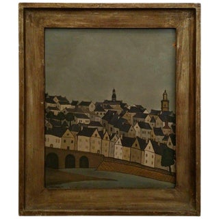 Framed City Scape Painting For Sale