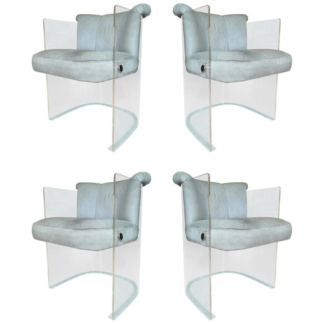 Set of 4 Barrel Chairs in Lucite and Pony Hair Leather For Sale - Image 12 of 12