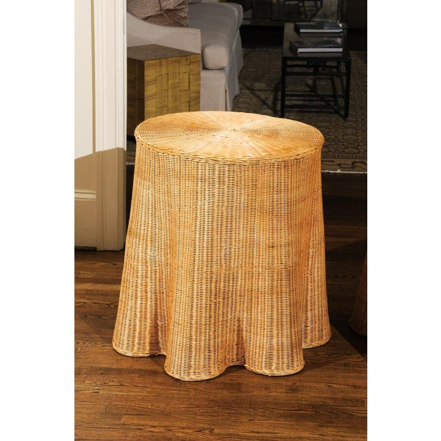 Stellar Pair of Vintage Trompe l'Oiel Drape Wicker Tables For Sale - Image 4 of 12