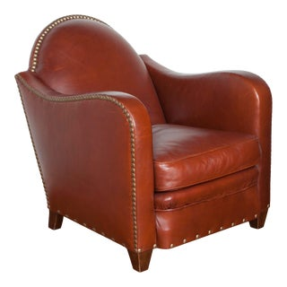 Art Deco Style Leather Lounge Chair For Sale