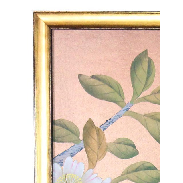 Gold Leaf Rose Gold Silk Chinoiserie Wallpaper Diptych Paintings - 2 Pieces For Sale - Image 7 of 8