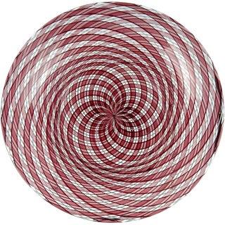 Murano Purple White Interlaced Roticello Ribbons Italian Art Glass Bowl For Sale