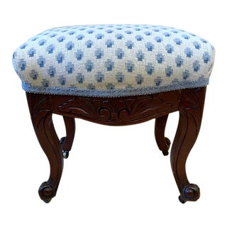 """Antique Carved Stool on Brass Wheels W"""" Brunschwig and Fils Fabric For Sale"""