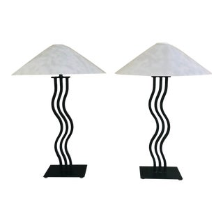 Postmodern Memphis Style Sculptural Curved Wavy Lamps by Alsy, 1980s- a Pair For Sale