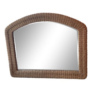 Vintage Palm Beach Tropical Braided Seagrass Rope Wicker Arched Wall Mirror For Sale