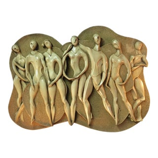 1970s Textured Fiberglass Figures Wall Sculpture by Finesse