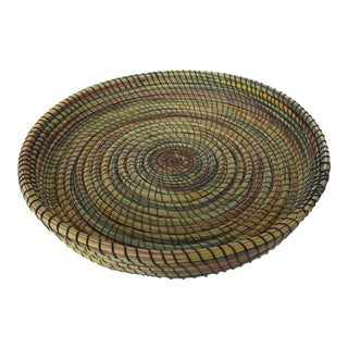 Handwoven Natural Vegetable Fiber Basket For Sale