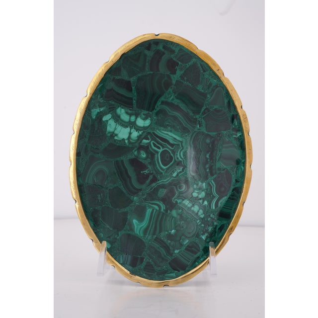 Vintage Oval Malachite Dish With Scalloped Brass Rim For Sale - Image 10 of 10