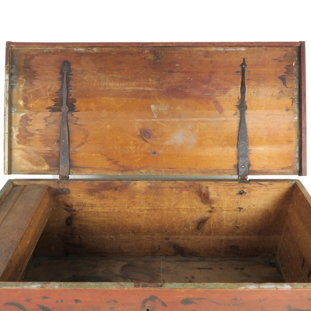 Wood Early 19th Century Antique Primitive Red Paint Trunk For Sale - Image 7 of 13