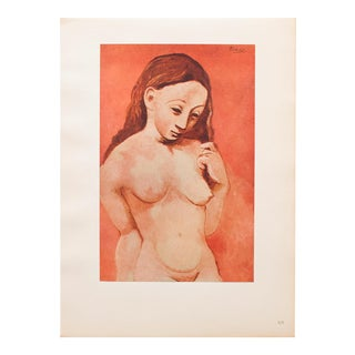 """1948 Pablo Picasso Original """"Woman With Long Hair"""" Period Lithograph, C. O. A. For Sale"""