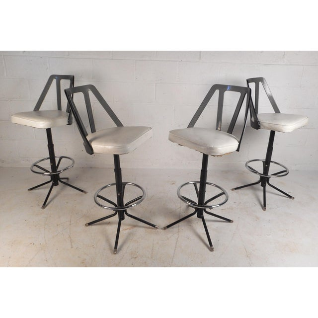 Set of Four Midcentury Smoked Lucite Swivel Bar Stools For Sale - Image 13 of 13
