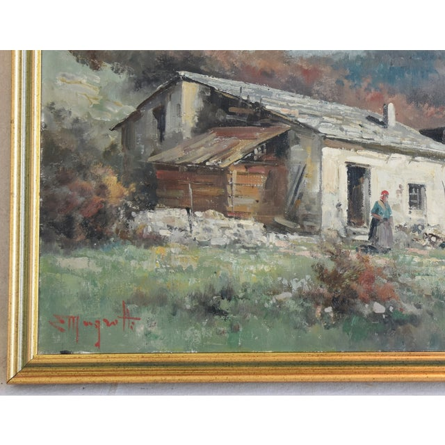 Rustic Framed Country Cottage Landscape Oil Painting For Sale In Los Angeles - Image 6 of 10