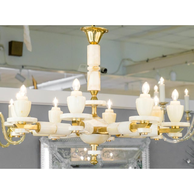Mid-Century Modern Onyx Brass Eight Arm Chandelier For Sale - Image 3 of 11