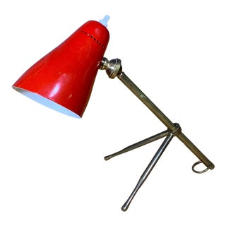 "Red Giuseppe Ostuni 1950s ""Ochetta"" Lamp for Oluce, Italy For Sale"