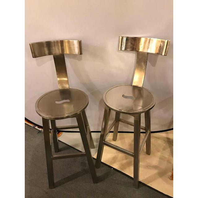 A Pair of Deco Style Steel Bar Stool For Sale In New York - Image 6 of 12