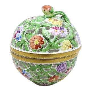 Herend Reticulated Lidded Bowl For Sale