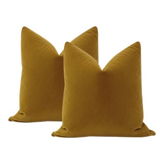 "22"" Bourbon Mohair Velvet Pillows - a Pair For Sale"