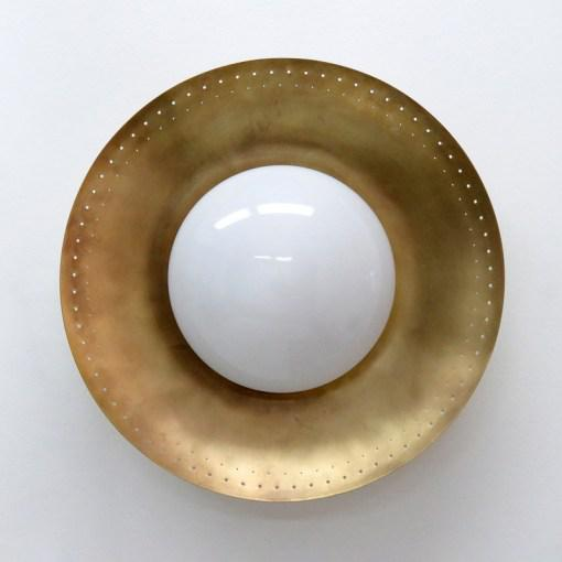 "Elegant custom ""Maine XL"" wall or ceiling light designed by Gallery L7, with an opaline glass shade on a raw brass disc,..."