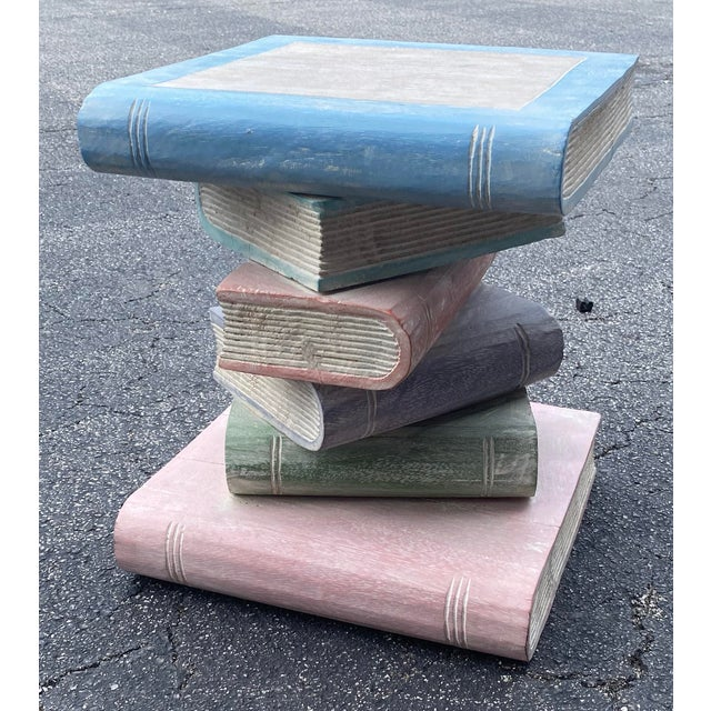 Vintage Hand Carved Stack of Books Side Table For Sale - Image 4 of 4