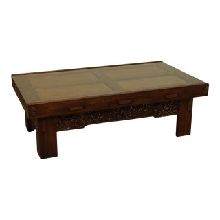 Drexel Heritage Large Carved Base Rattan Glass Top Coffee Table For Sale