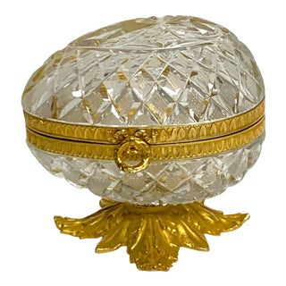Baccarat Style Cut Glass and Ormolu Egg Motif Box For Sale