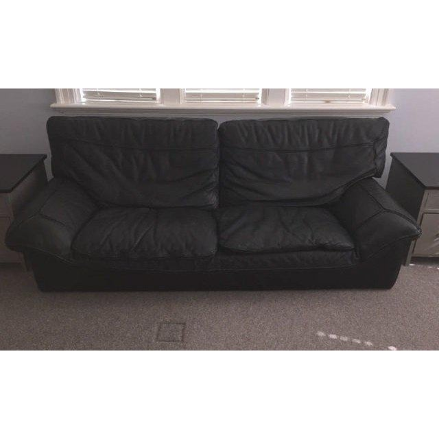 Contemporary Roche Bobois Black Leather Sofa