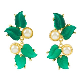 Madame Gres Paris Signed Clip on Earrings Gilt Metal Green Poured Glass Leaves For Sale
