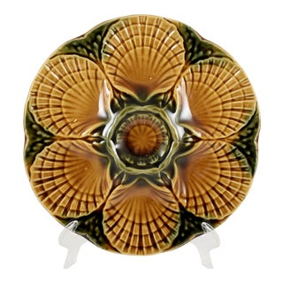 French Faïence Sarreguemines Scallop Shell Oyster Plate For Sale