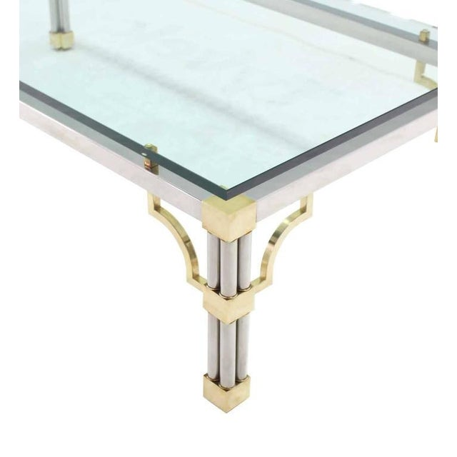 Heavy Thick Glass Brass and Chrome Coffee Table For Sale In New York - Image 6 of 8