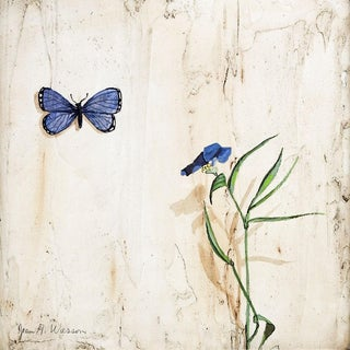 Trompe l'Oeil Butterfly & Flower Painting For Sale