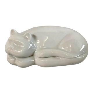 Vintage Cat Shaped Figural Ceramic Dish For Sale